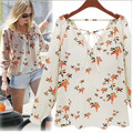 New Fashion Blusas Femininas High Quality Slim Tops for Women Elegant  Brids Print Chiffon Blouse V-Neck Casual Vintage Shirts