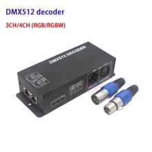 купить DC12V~24V RGB RGBW 3CH 4CH DMX512 decoder with digital display DMX to PWM 3CH*8A 4CH*4A led strip dimmer онлайн