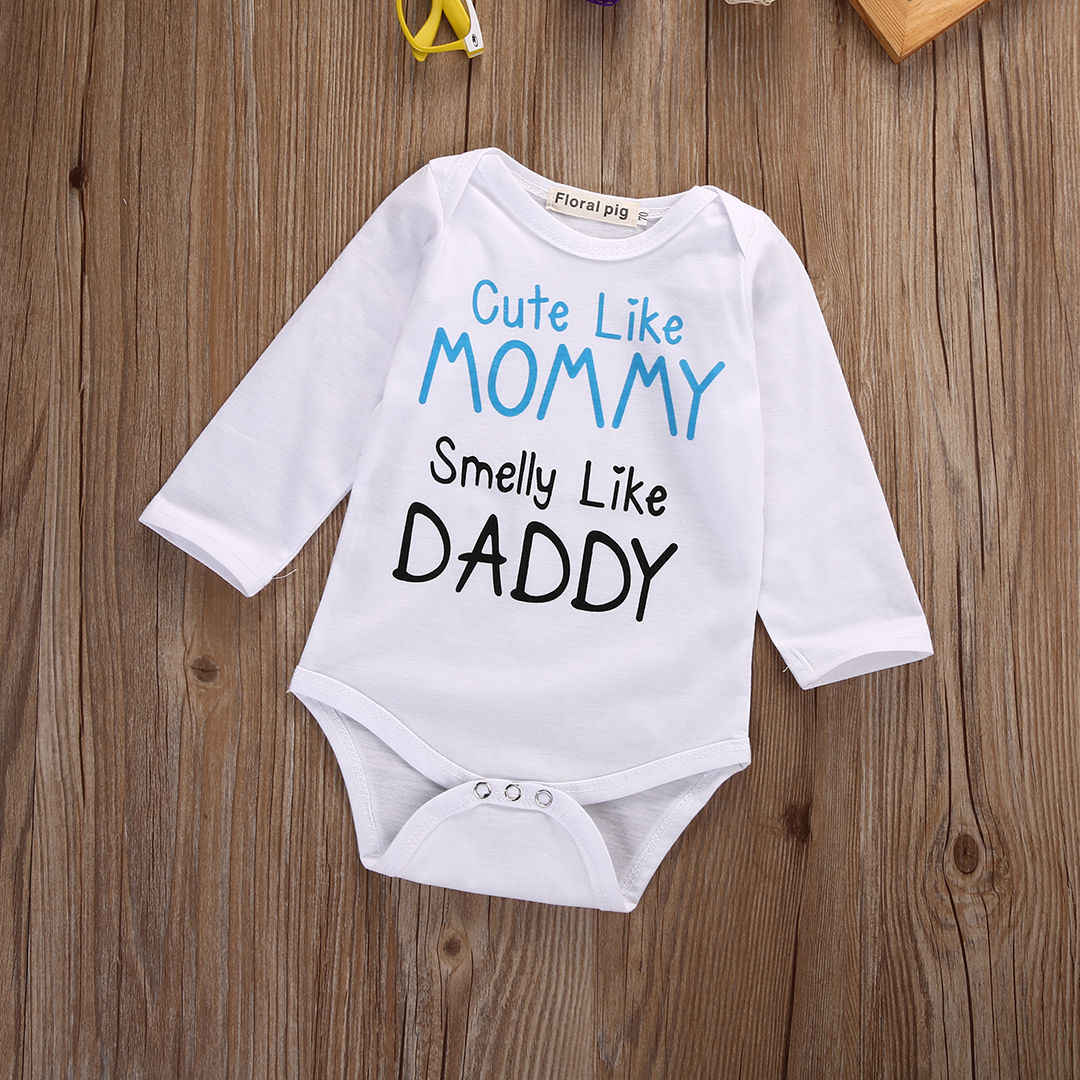 dc718a5485458 Infant Baby Boys Girls Clothes Newborn MOM DAD Outfit Bodysuits Long Sleeve  Jumpsuit Bodysuit Cotton Clothing