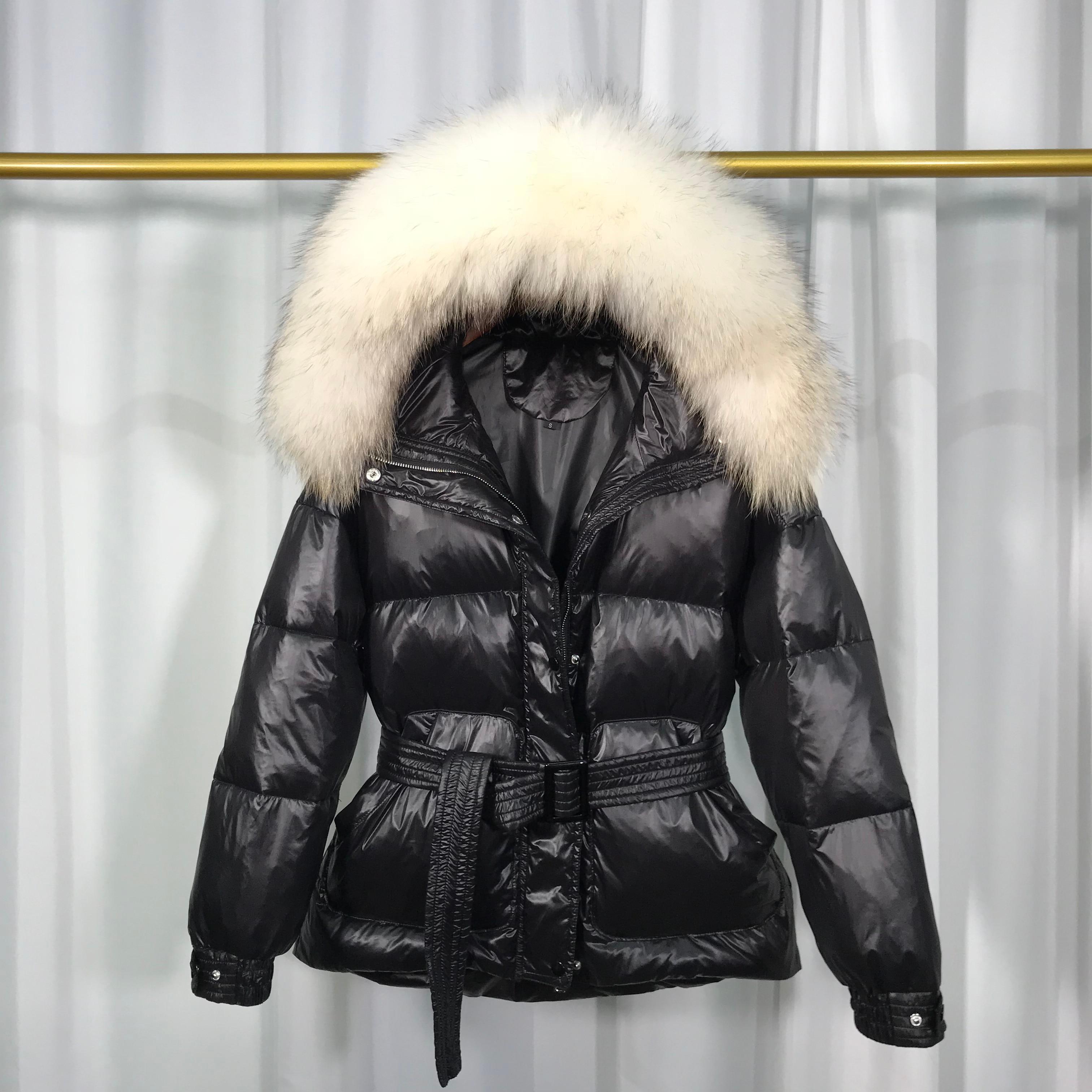 Real Raccoon Fur Collar 2019 Women Winter Ultra Light 90% White Duck Down Jacket Female Waterproof Warm Hooded Coat Outerwear