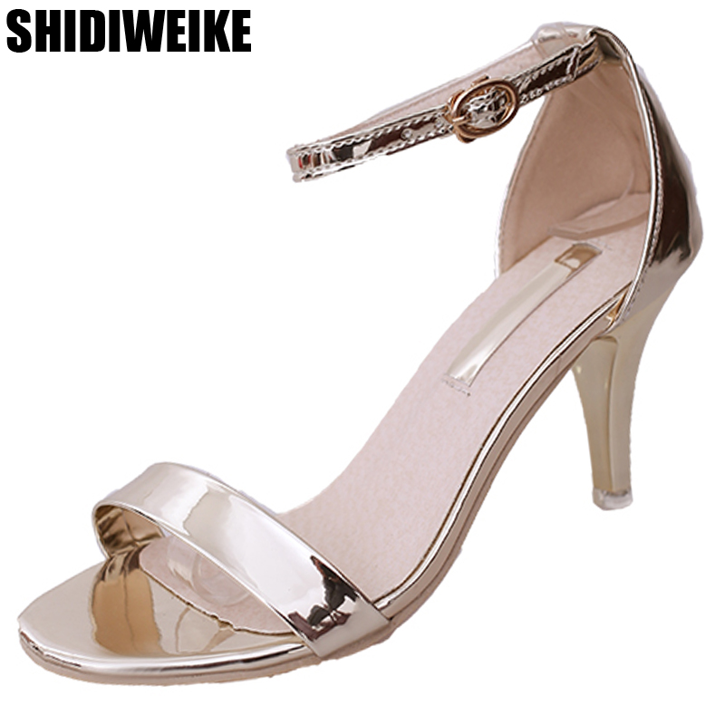 2019 New Fashion Women Sandals High Heels Women Summer Shoes Thin Heels Buckle Ladies Wedding Open Toe Bling Gold Silver Pumps
