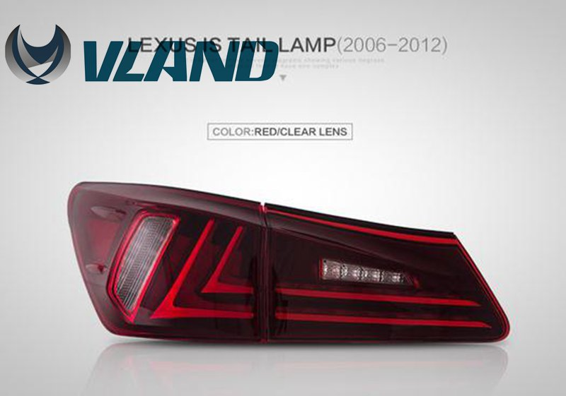 Free Shipping for Vland Car Rear lamp for Lexus for IS250 for IS300  for IS350 LED Taillights Plug and Play for Year 2006-2012 free shipping vland factory car parts for camry led taillight 2006 2007 2008 2011 plug and play car led taill lights