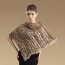 Women Real Rabbit Fur Cape Poncho Scarves Natural Knitted Autumn Winter Hair Scarf Fahion Wrap Shawl Ladies