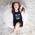 Toddler Baby Kids Girl Clothing Dresses Black Tassel Sleeveless Cotton Casual Brief Neck Dress Girls 1-6Years