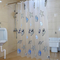 1 Pcs Plastic Shower Curtain PEVA Blue Shell Starfish Printed Transparent Curtains Waterproof Mold Proof Home