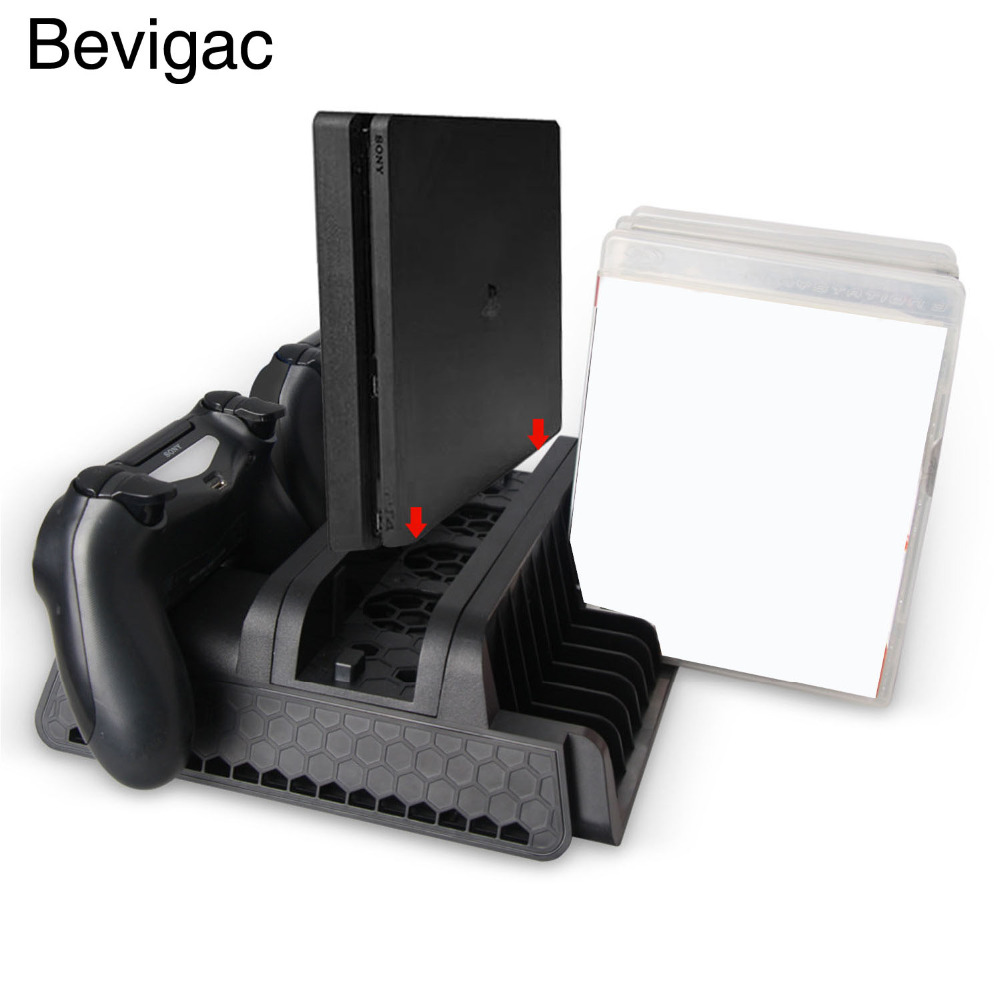 Bevigac Dual Charging Station Stand Dock Holder w/ Cooling Cooler Fan for Sony Play Station PS4 Slim Pro Console Game Charger