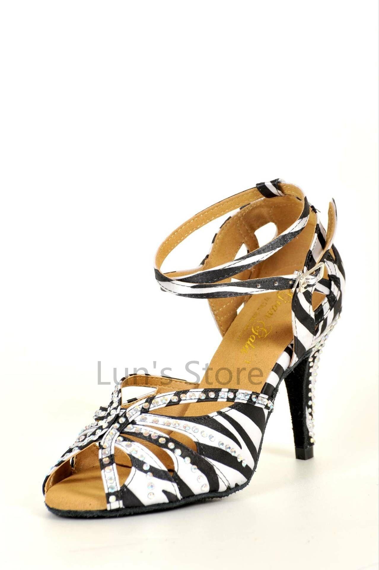 New Ladies Zebra Satin Rhinestone Latin Ballroom Dance Shoes Salsa Dance Shoes Tango Bachata Dance Shoes ALL SIZE
