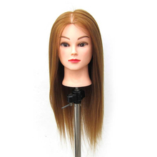 Mannequin Head Hair Styling Training Head Manikin Cosmetology Doll Head Straight Synthetic Fiber Hairdressing Training Mode head training