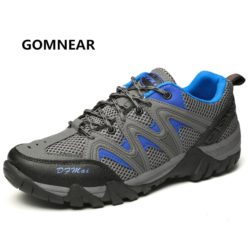 ФОТО GOMNEAR 2016 New Arrival Men's Outdoor Breathable Hiking Shoes Male Non-slip Collision Avoidance Shock Absorption Tourism shoes