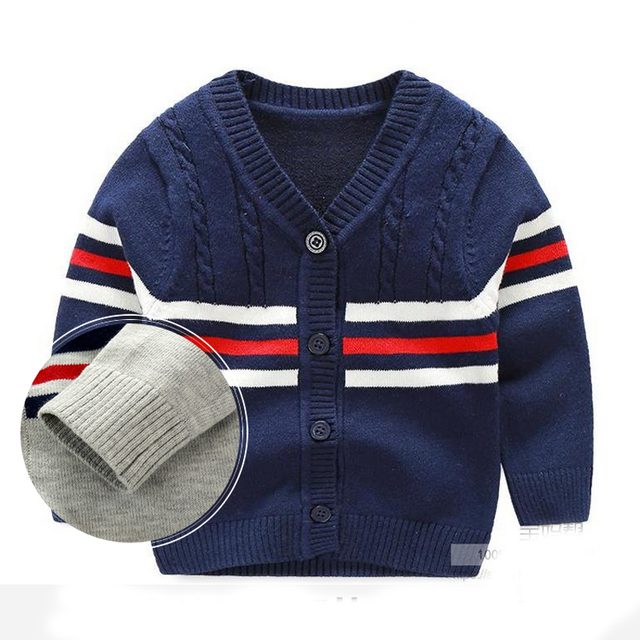 Cotton Baby Sweater V-neck Button Stripe Cardigan British Leisure Toddler Baby Boys Knitted Sweaters 2017 Spring Autumn