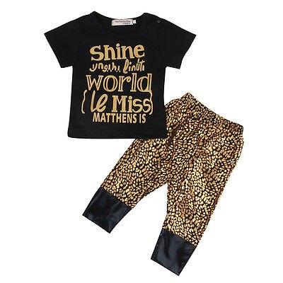 2017 Newborn Kids Baby Girls Clothes Cotton Letter Print T-shirt Tops+Leopard Long Pants 2pcs Outfits Set 0-18M