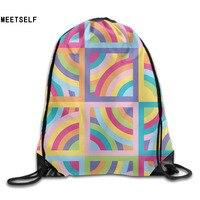 3D Print Original Rainbow Patterns Shoulders Bag Women Fabric Backpack Girls Beam Port Drawstring Travel Shoes