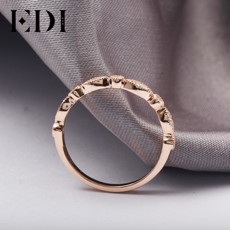 EDI 14kt Rose Gold Natural Diamond Band Ring Fine Jewelry Gifts For Women Diamond Infinity Ring Dainty Ring Stack Ring