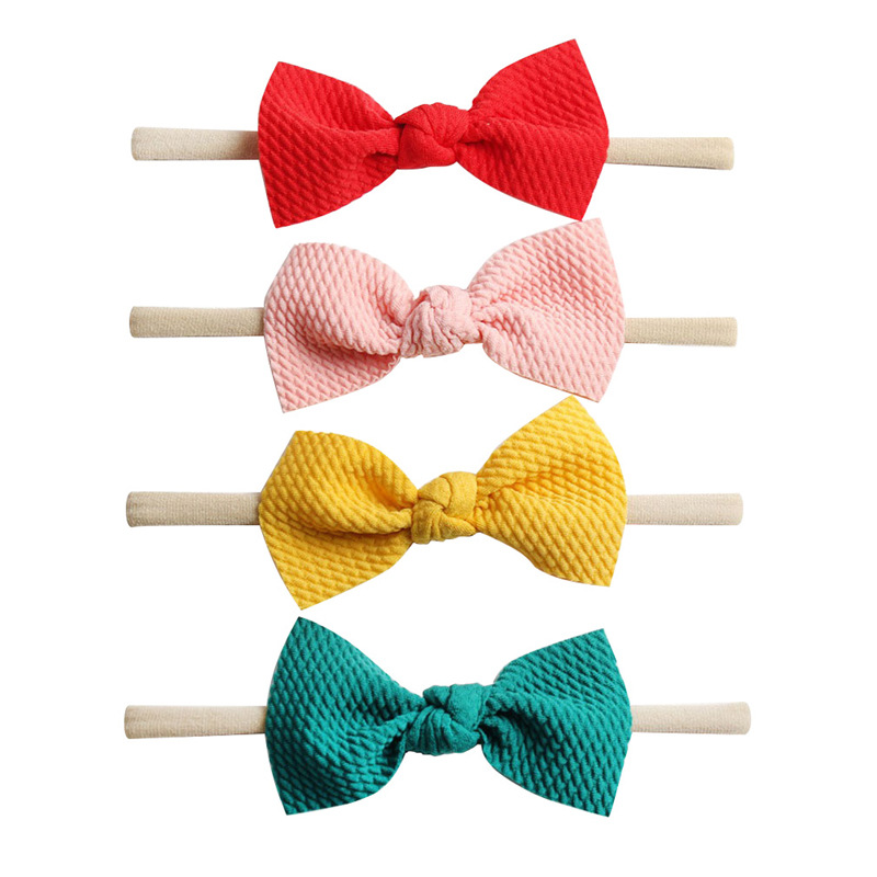4pcs/lot Girls 3.5'' Waffle Hair Bow Nylon Headband For Kids 2019 Soft Bow Elastic Nylon Headbands Hair Band Hair Accessories