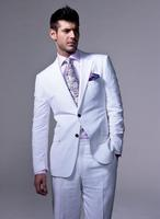 Summer Casual Men Suits Tuxedos Notched Lapel White Wedding Suits For Men Two Button Groomsmen SuitsJacket