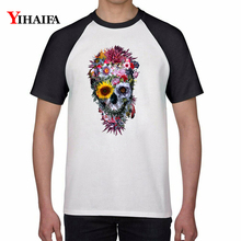2019 New Men Women T Shirts Floral Skull 3D Print Casual Graphic Tee Tops Cotton t shirt Harajuku Round Neck Unisex Tshirt men skull and floral print tee