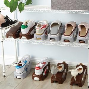 Image 2 - Plastic Double Shoebox Shoe Storage Shelf Shoe Rack Double Shoes Organizer Household Adjustable Storage Holders For Living Room