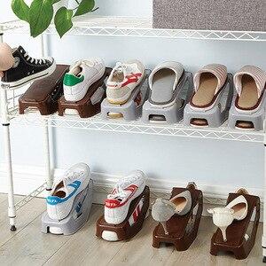 Image 2 - Plastikowe podwójne pudełka na buty do przechowywania butów półka stojak na buty podwójne buty organizator gospodarstwa domowego regulowany stojaki do przechowywania do salonu