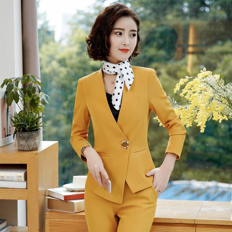 Kadın Giyim'ten Pant./Ceket Takımlar'de Kadın pantolon takım elbise ofis bayan iş iş resmi pantolon Blazer seti moda elbise kadın giyim 2019 sonbahar kış artı boyutu'da  Grup 1