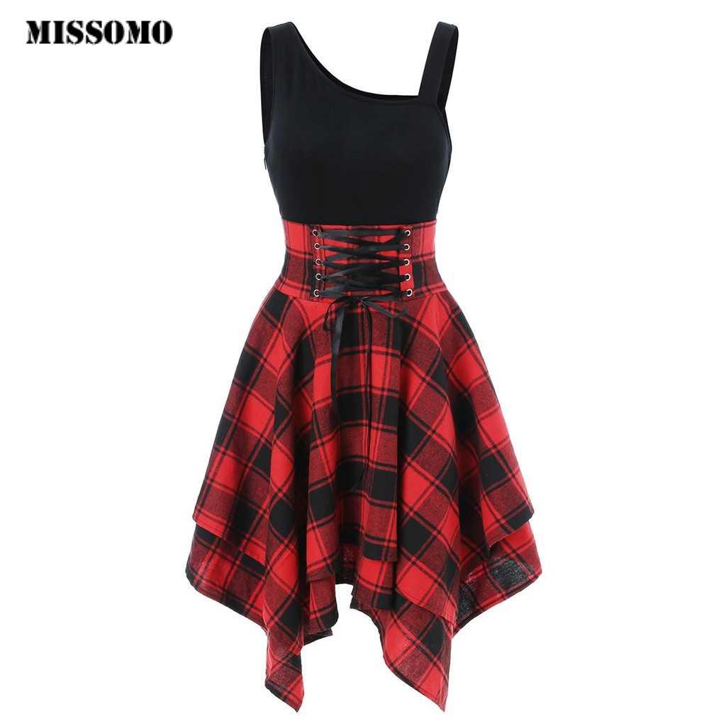 MISSOMO/Одежда для девочек; женское платье без рукавов с открытыми плечами и перекрестной шнуровкой; платье в клетку с принтом; женская одежда; 2019 vestidos