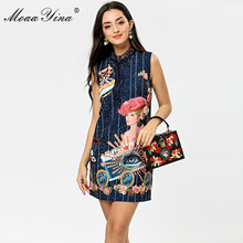 MoaaYina Fashion Designer Runway dress Spring Summer Women Dress Stripe Beauty Print Beading Elegant Dresses