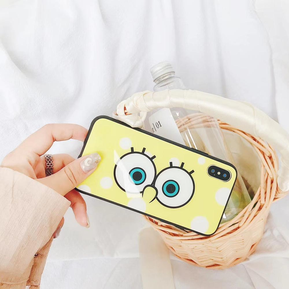 Cute Cartoon Bob Tempered Glass Phone Case Glossy Shock Proof Full Cover Casing For iPhoneX 8 6s 7plus Skinny Shell Protection
