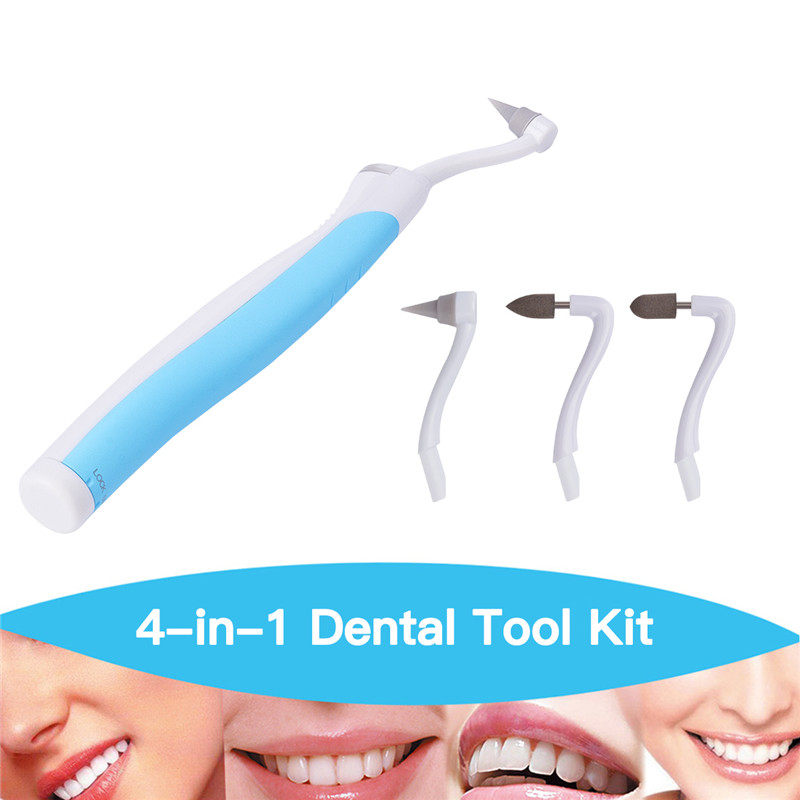 4 in 1 Soft Dental Instrument Tool Oral Care Whitening LED Plaque Remove Tooth Stain Eraser Poliser Gum Set Kit 4 Grinding Head new personal care led oral teeth clean tool kits dental hygeine explorer dental mirror plaque remove tooth stain eraser