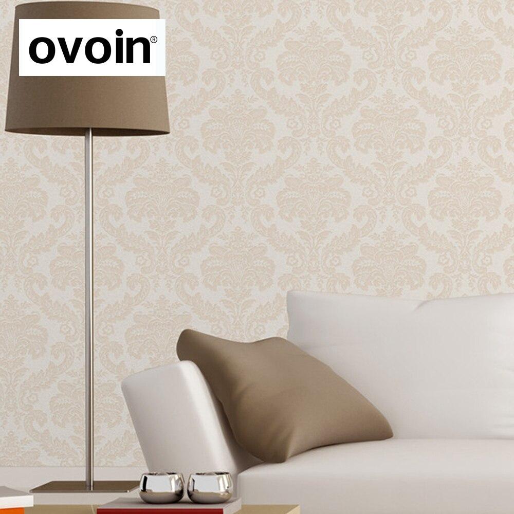 Textured damask wallpaper cream pvc wall wall paper roll for Cream wallpaper for walls
