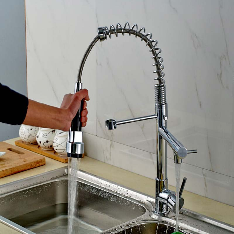 Chrome Kitchen Faucet Solid Brass Water Power Sink Faucet Swivel ...