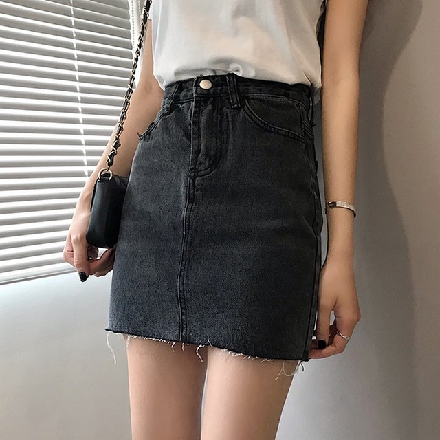 Vintage High Waist Plus Size Solid Color Simple A-line Women Denim Short Skirt Summer Korean Style Female Student Mini Skirt