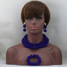 Royal Blue Crystal Jewelry Nigerian Women Necklace Set Handmade Bead Balls Necklace for Wedding Free Shipping WD517