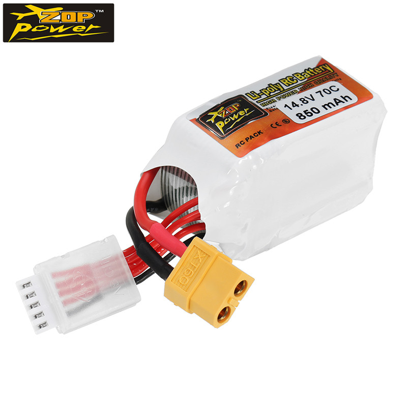 ZOP Power 14.8V 850mAh 70C 4S Lipo Battery XT60/XT30 Plug for RC Quadcopter Helicopter Car Accessories FPV Drone Parts 4pcs tattu 11 1v lipo battery for quadcopter li po battery for rc car helicopter mini done xt30 plug chargeable battery