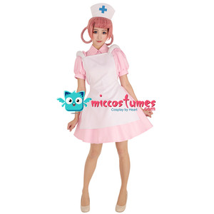 Image 2 - Hemşire sevinç pembe Cosplay kostüm pembe elbise şapka ile beyaz önlük