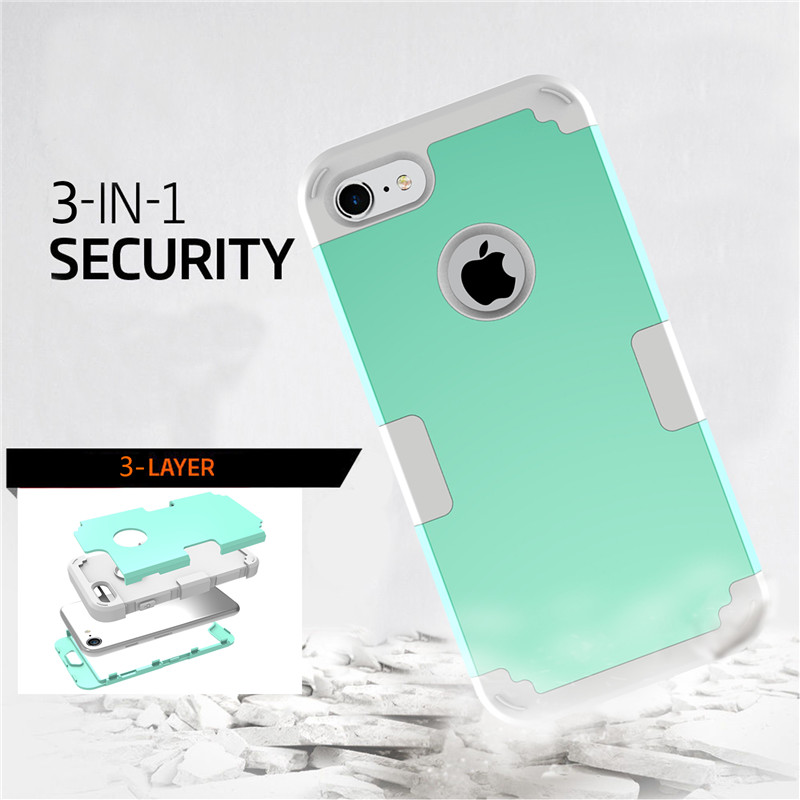 For iPhone7 Case Heavy Duty Hybrid Shockproof Armor Rugged Case For iPhone7Plus Cover Hard PC + Soft Rubber Silicone Phone Cases (25)