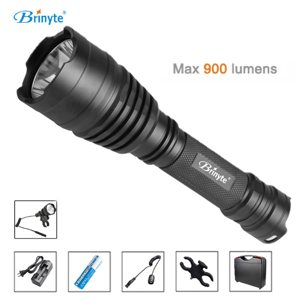 Brinyte B58U Best Hunting Flashlight Torch Waterproof Cree XM L2 LED Outdoor Flashlights with 18650 Battery ABS Tool Case Suit brinyte b58u best cree xm l2 3 colors beam led hunting flashlight torch with red green white module remote switch and gun mount