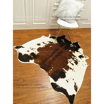 3 Stück 1 Satz Großhandelspreis Für Braunem Rindsleder Teppich 4,6x4,4 Füße (140X135 CM) Weiße Kuh Gedruckt Teppich Für Home-Matte Rutschfeste Teppich