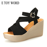 E TOY WORD Large Size34 43 Summer Shoes Wedge Sandals Korean Open Toe Suede Leather High