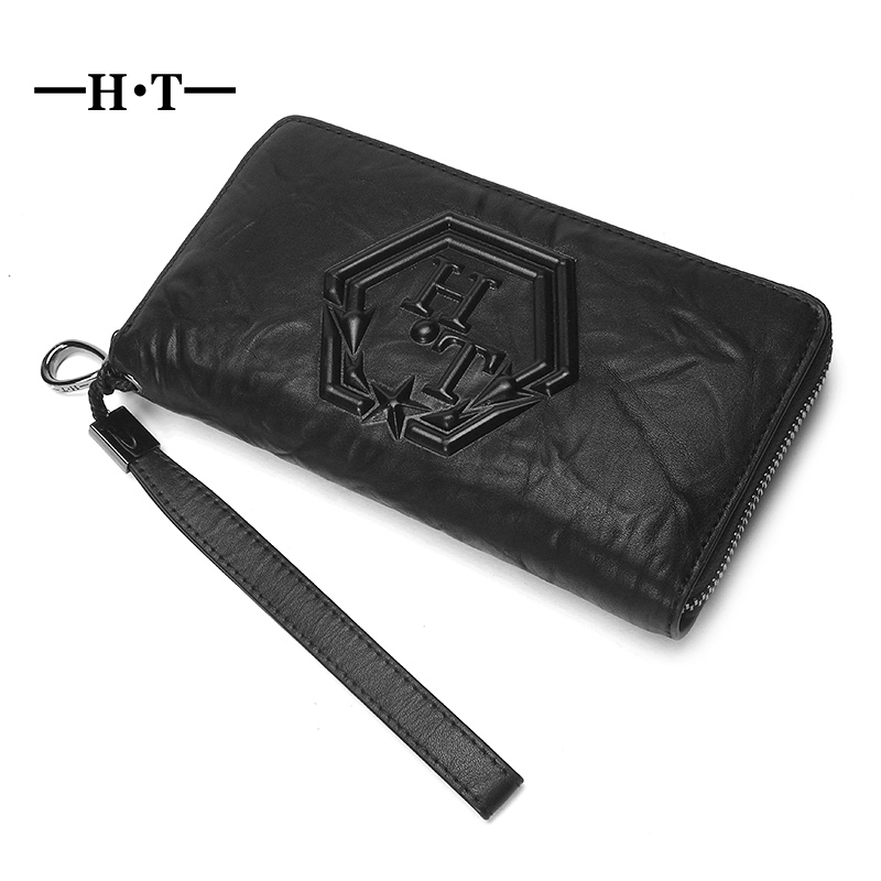 HT Vintage Halloween Men Wallet Genuine Leather Long Purse Male Notecase ID Credit Card Holders Men Coin Purses Clutches 100% genuine leather men s coffee wallet business credit card holder coin id purse 8011 1q
