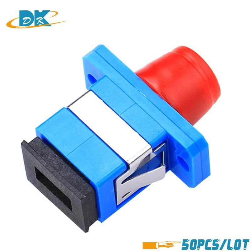 50pcs/lot FC-SC Hybrid Singlemode Simplex Plastic Fiber Optic Adapter FC SC /UPC With Flange, Fiber Connector