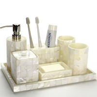 European style shell bathroom five piece bathroom bathroom cup set with tray bathroom brushing supplies LO724505