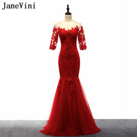 JaneVini Half Sleeve Mother of the Bride Dresses 2018 Red Lace Mermaid Wedding Party Dress Groom Mother Evening Gowns Wear Tulle