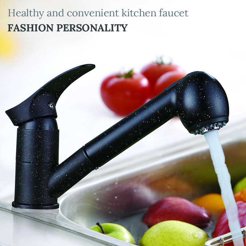 цена на Newly Kitchen Faucets 360 Degree Swivel Pull Out Kitchen Sink Faucet Water-Saving Polished black Basin Crane Mixer Brass Tap