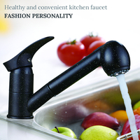 Newly Kitchen Faucets 360 Degree Swivel Pull Out Kitchen Sink Faucet Water Saving Polished Black Basin