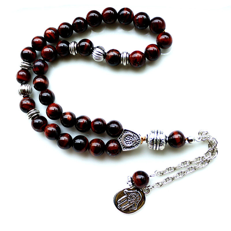 8mm brunt tigerøye Stone bead Round Shape 33 Bønn Perler Islamic Muslim Tasbih Allah Mohammed Rosary For Men & Women