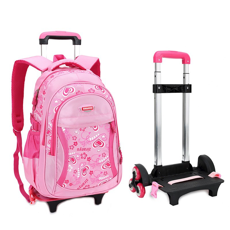 Trolley School Bag for Girls with Three Wheels Backpack Children ...
