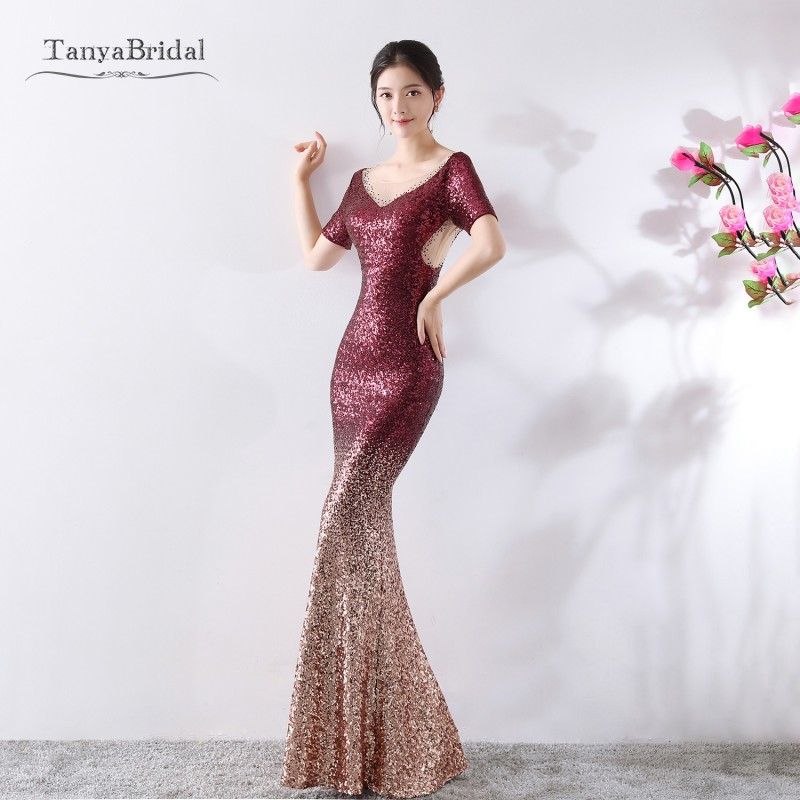 Red And Gold Sequined Bridesmaid Dresses Long elegant Formal Dress Long Wedding Guest Gowns  DB013