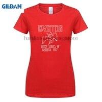 GILDAN Led Zeppelin 1977 Tour Tshirt Women Rock Roll Fan Casual Fit Summer Tee Shirt Homme