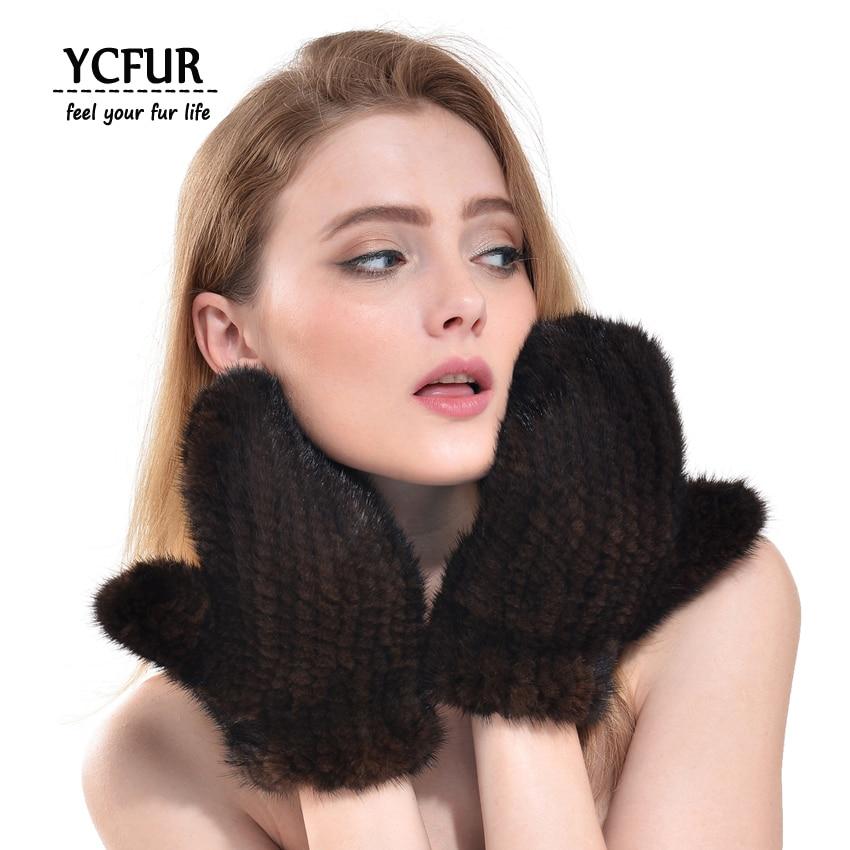 YCFUR Fashion Women Gloves Mittens Winter Warm Knit Mink Fur Gloves Winter Mittens Women Glove