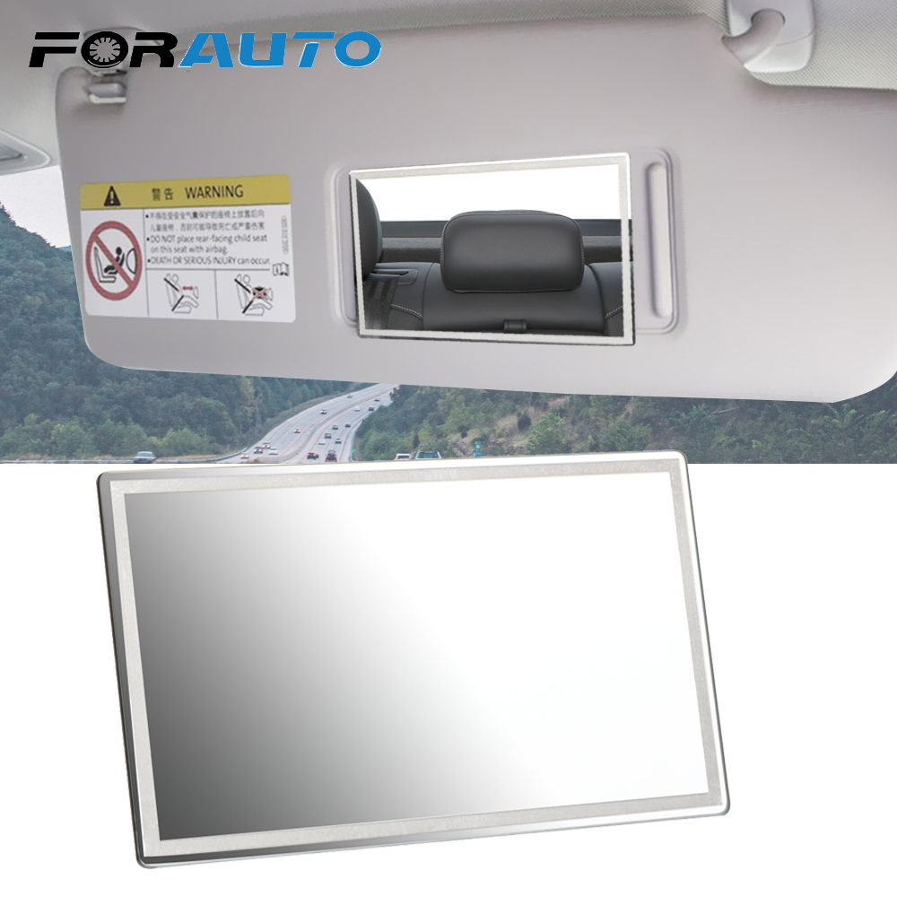 FORAUTO Car Interior Mirror Portable Car Makeup Mirror Auto Sun-Shading Visor HD Mirrors Universal Car-styling Stainless Steel