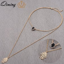 US $0.57 59% OFF|QIMING Black Crystal Hamsa Necklace Women Gold Hollow Hand Bohemian Jewelry Female Multi Layer Necklace Friends Gift on AliExpress